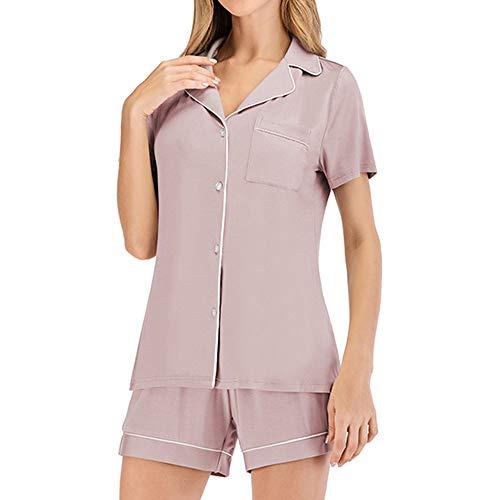 Lilon - Conjunto de pijama para mujer, manga corta, pantalón corto y pantalón corto Lotus Color S. M