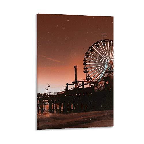 ASDFX 8 carteles de paisaje de la ciudad de Los Ángeles, cuadro decorativo para pared, para sala de estar, dormitorio, 60 x 90 cm