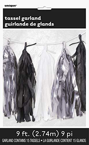 Unique Party 62952 - 9ft Tissue Paper Black, White, & Silver Tassel Garland