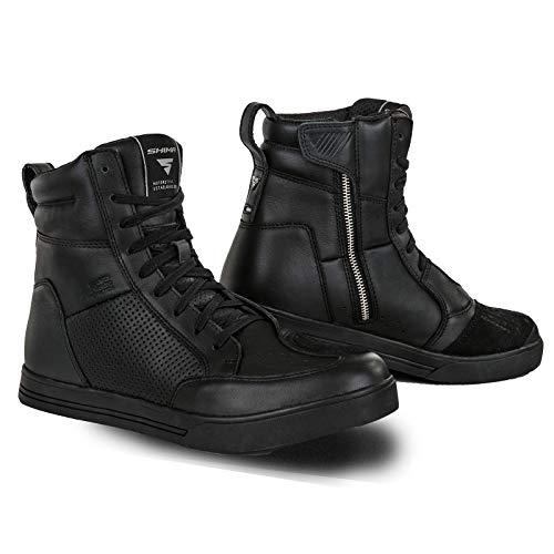 SHIMA Blake Zapatos de Motocicleta para Hombres | Cuero, Transpirables, Zapatos de calle reforzados con cremallera lateral, Soporte de tobillo, Suela antideslizante, Almohadilla de cambio (Negro, 41)