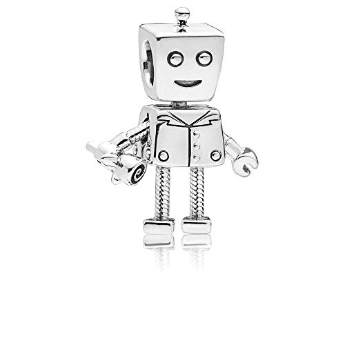 Robot Sliver Charms, Rob Bot Enamel 925 Sterling Sliver Beads fit Pandora Bracelets Jewelry, Antique Metal Machine Toy Charms,Best Gift for Boys Girls Sister Brother …
