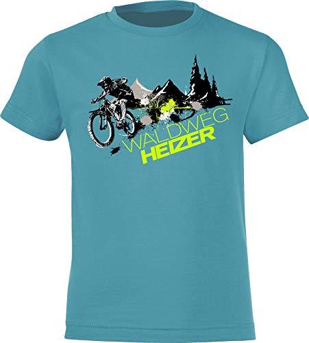 Kinder Fahrrad T-Shirt: Waldweg Heizer - Geschenk-e Jungen & Mädchen - Radfahrer-in Mountain Bike MTB BMX Roller Rad Outdoor Junge Kind - Schule Sport Trikot Spielplatz Geburtstag (134-146)