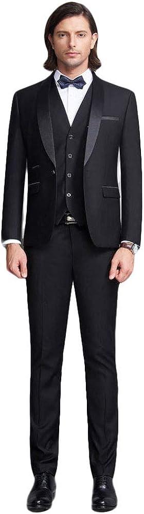 Men's Suit Shawl Lapel 3 Pc Business Suits One Button Groom Wedding Tuxedos Suits for Men