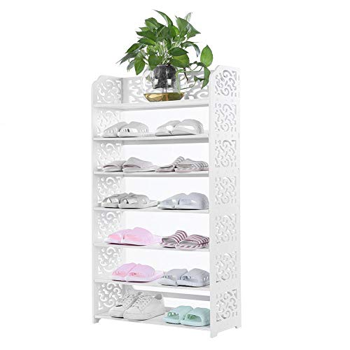 7 Tiers Shoes Rack, White Wood Plastic Durable Space Saving Shoe Storage Organizer, Free Standing Shoes Tower Shelves Holder Closets Stand, Large Capacity Support Hold 21 Pairs 62*24*110cm