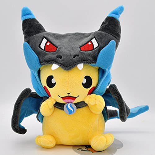 hzx Pokémon Plush Pikachu Toy with Smiley face and MEGA Charizard 8.5 Poncho, The Best Gift for Children (Dark Blue)