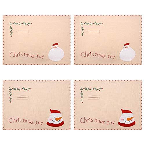 Pumyporeity, 4 tovagliette natalizie con motivo Babbo Natale e pupazzo di neve, per decorare la tavola da pranzo, lavabile e resistente al calore
