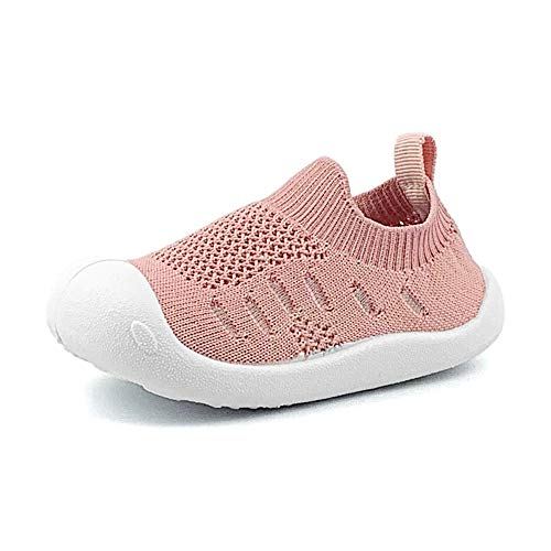 OAISNIT Baby Boy Girl Sneakers Anti Skid Lightweight Soft Toddler First Walkers for Walking Running (4.5 M US Toddler, 3-Pink)
