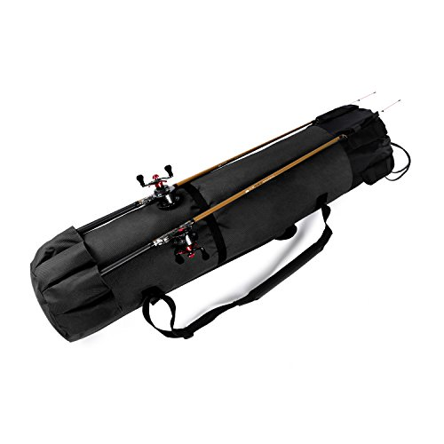 Wowelife Fishing Rod Carrier Fishing Reel Organizer Pole Storage Bag for Fishing and Traveling,A Gift for Family Father, Daughter and Friends(Black)