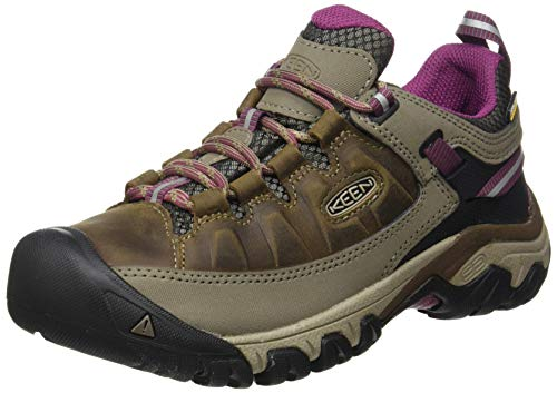 KEEN Women's Targhee 3 Waterproof Hiking Shoe, Weiss/Boysenberry, 9.5 M (Medium) US