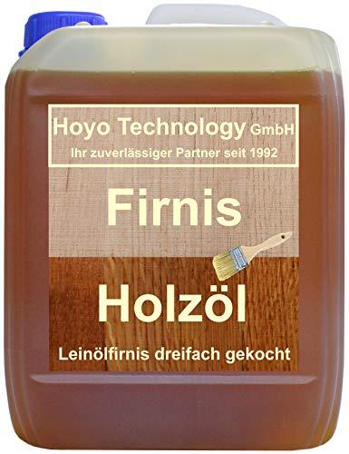 Hoyo Technology GmbH 5 Liter Leinöl Firnis Lausitzer Leinölfirnis für Holzschutz dreifach gekocht und harzfrei