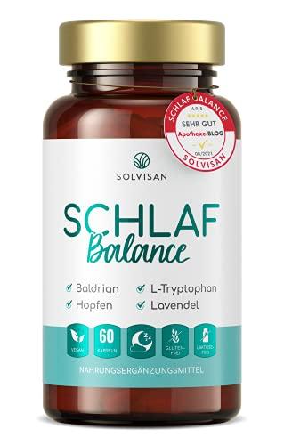 SOLVISAN SCHLAF GUT mit natürlichem Melatonin, Baldrian, Hopfen, Lavendel und L-Tryptophan - 60 Vegane Kapseln