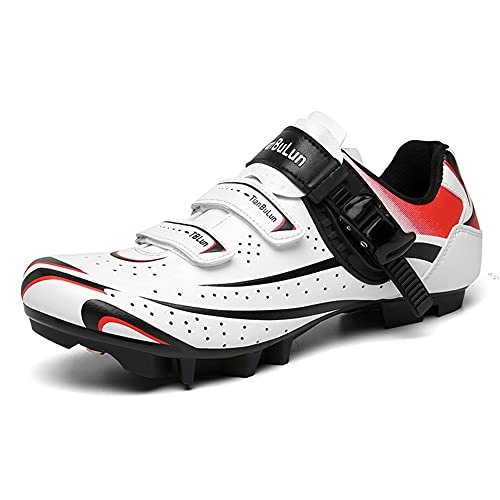 Mens Womens MTB Cycling Shoes Breathable Mountain Bike Shoes Compatible Riding Racing SPD Cleats and Lock Pedal White 230
