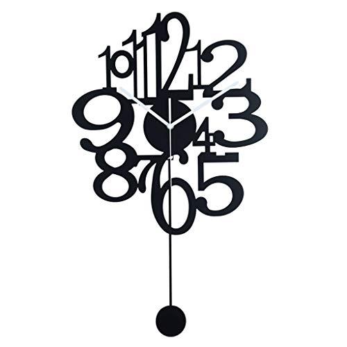 WGYDREAM Reloj de Pared Reloj de Pared de Metal Grande, números arábigos, Novedad Creativa, Reloj Colgante Negro Decorativo for la decoración Moderna del Arte del Club de la Oficina en el hogar