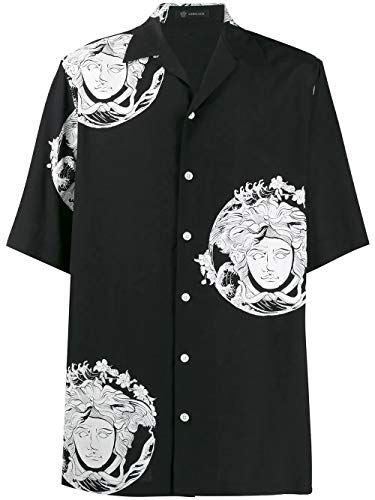Versace Luxury Fashion Herren A81630A230635A71R Schwarz Viskose Hemd | Jahreszeit Outlet