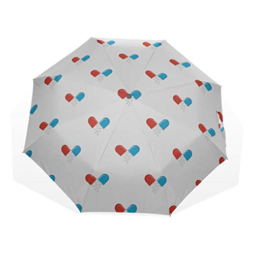 Kompakter Regenschirm für Reisen Kleine Pillen Kawaii Shape 3-Fach Kunstschirme (Außendruck Netter Sonnenschirm Traveller Umbrella Teal Travel Umbrella
