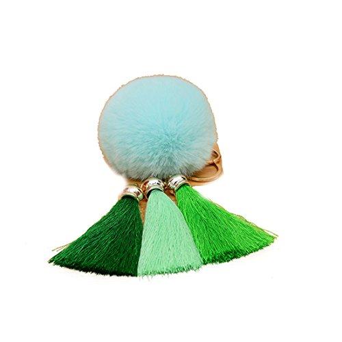 URSFUR Schöne Fellbommel aus Kunstfell Tasche Pompons Handtasche Schnalle Schlüsselanhänger -hellgrün