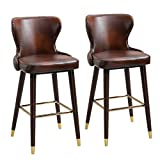 <span class='highlight'>HOMCOM</span> <span class='highlight'>Set</span> <span class='highlight'>of</span> 2 PU Leather Vintage Counter-Height <span class='highlight'>Bar</span> Chair, Home Luxury European Style <span class='highlight'>Bar</span> Stool Kitchen Counter with Back, Brown and Golden