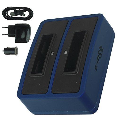 Dual-Ladegerät (Netz+Kfz+USB) für Samsung SLB-10A / Toshiba Camileo X-Sports/JVC Adixxion/Silvercrest/Medion Action Cam. s. Liste