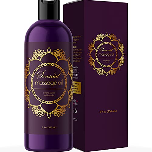 Aromatherapy Sensual Massage Oil for Couples - High Absorption Lavender Massage Oil for Massage Therapy and Relaxing Massage Oil with Sweet Almond Oil for Dry Skin - Natural Body Oil Moisturizer