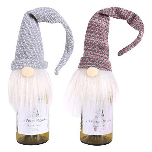 2pz Navidad Botella de Vino Cubierta, Cubierta de Botella de Vino de Papá Noel, para Decoración de Navidad para...