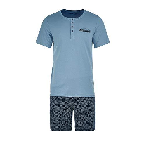Schiesser Herren Kurz mit Knopfleiste Zweiteiliger Schlafanzug, Blau (Air 802\'), 54