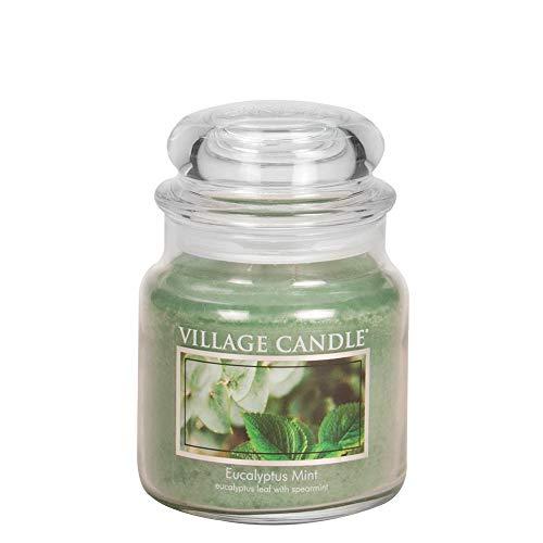 Village Candle Vela con Aroma Eucalipto y Menta, Cristal, Verde, 9.7x9.5x12.4 cm