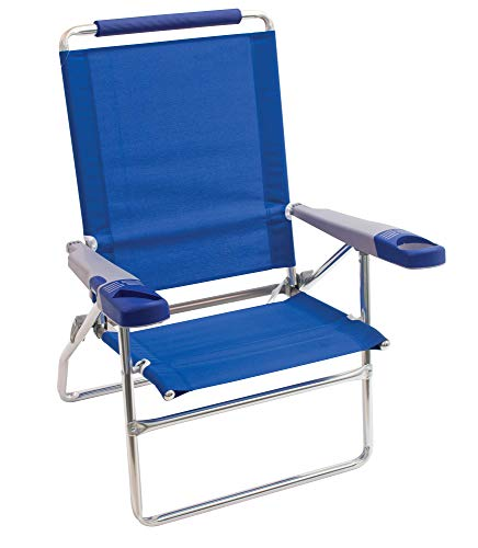 Rio Brands Beach 15' Extended Height 4 Position Folding Beach Chair, Blue (SC615-28-1)