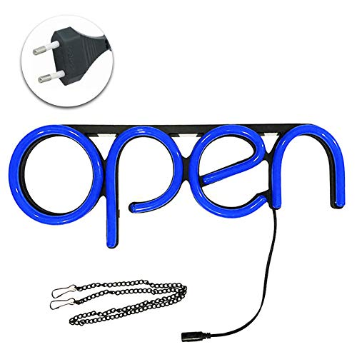 MooUK - Letrero luminoso LED abierto, luz de neón, publicidad de luz para bar, escaparate, negocios, oficina, tienda, restaurante, azul, Tamaño libre