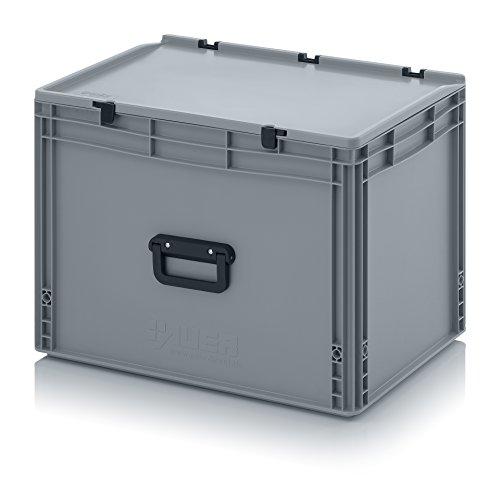 Eurobehälter 60 x 40 x 43,5 mit Scharnierdeckel und Griff (Tragegriff, Klappgriff) inkl. gratis Zollstock