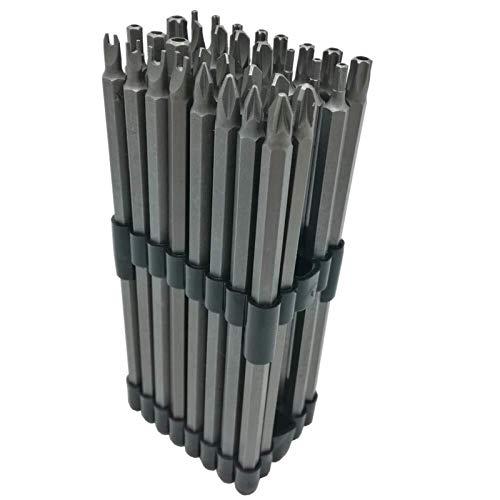 YELLAYBY HSS 32pc Extra Larga de la energía bit Set 6 150 mm Longitud de la caña 1/4 a Prueba de manipulaciones Torx CR-V Madera en plástico y Aluminio