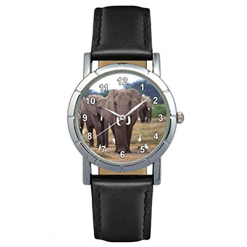 Timest - Elefant Motiv Damenuhr mit Lederarmband in schwarz Rund Analog Quarz SA1446