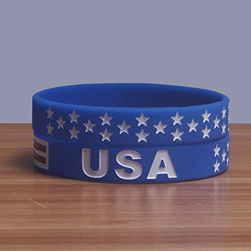 DuDuDu SilikonarmbäNder Kinder Nationale Fahne Silikon Armband einfach Unisex blau (5Pairs)