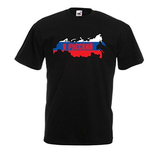 Männer T-Shirt ЯРуский, Россия, Ich Bin Russisch, Russland (XXXXX-Large Schwarz Mehrfarben)