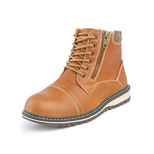 Bruno Marc Boys Brown Lace-up Classic Ankle Work Boots Size 1 Little Kid Apache-03-k