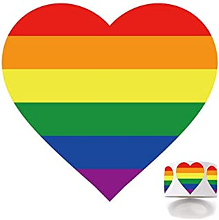 1000 Gay Pride Rainbow Stickers on a Roll, Love Rainbow Stickers Roll in Heart-Shaped, Pride Flag Labels for Gifts, Crafts, Envelope Sealing and Lesbian Gay Group Activities, 1.4 x 1.5 Inches.