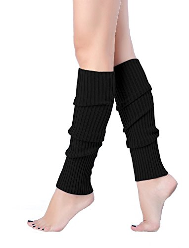 V28 Women Juniors 80s Eighty's Ribbed Leg Warmers for Party Sports (Black)