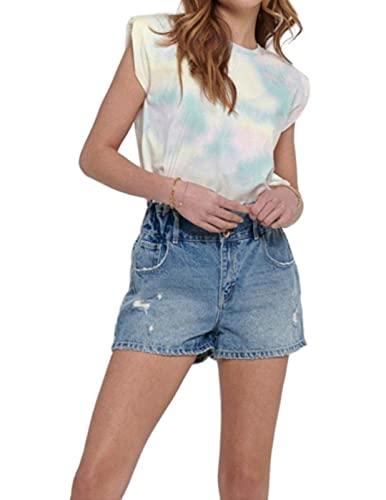 Only ONLAMY PADDEDSHOULDER Tie Dye S/L DNMTEE Camiseta, Turquesa/AOP:Option 2 púrpura/Azul/Coral, XL para Mujer