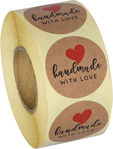 Sweetzer and Orange Handmade with Love Stickers - Premium Kraft Paper, Creative Clear Prints - Cute Seller Labels for Craft Products, Baked Goods - Easy to Peel Roll of 500 Stickers, 1.5-Inch Diameter