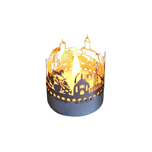 13gramm Nürnberg-Skyline Windlicht Schattenspiel Souvenir, 3D Edelstahl Aufsatz für Kerze inkl. Karte