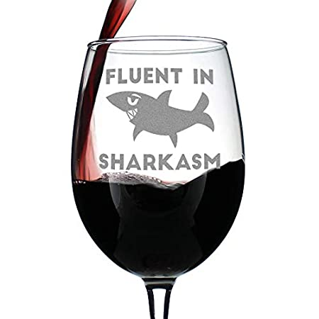 Fluent in Sharkasm - Shark Wine Glass image