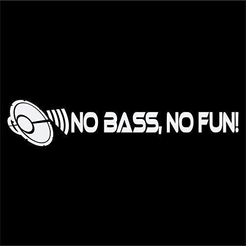 No Bass, No Fun! Aufkleber Subwoofer Shocker DUB JDM Autoaufkleber (WEISS)