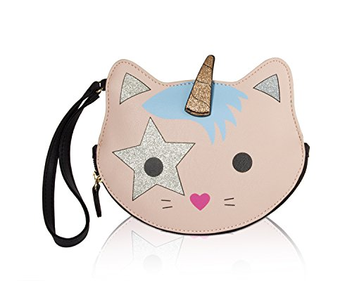 "Bottom Zip Closure, Wristlet handle strap 6"" drop hand drop PVC Synthetic leather exterior With Unicorn Cat face details Zipper pocker opens to Fully lined signature interior, Luv Betsey script on back Mini coin accessory purse holds your money, bill..."