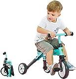 HUJPI Triciclo Infantil, Triciclo para Niños con Empujar la manija Triciclos Bebes con Pedales bebé Triciclo para Niños de 1-4 años de Edad,Green