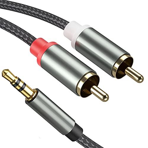 Froggen 3,5 mm a 2 machos RCA, Nylon Trenzado Cable Jack a 2RCA, Cable de Audio 3.5mm a 2RCA, Cable Audio RCA para Móvil, Tablet, PC, Reproductor MP3, Amplificador, Altavoz, TV, DVD