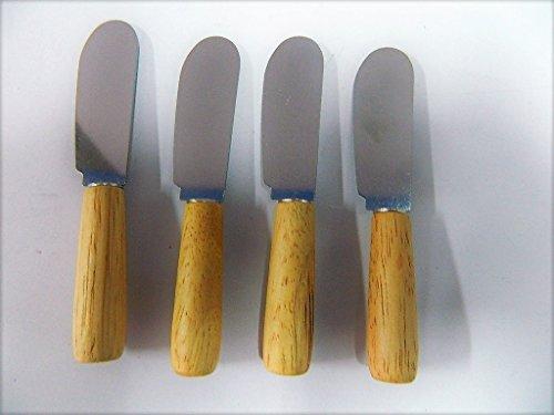 andiel 4 X Petit Couteau à Beurre avec Manche en Bois de hêtre 10cm pour Le Beurre Les tapenades