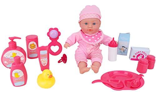 Toyland® 16-delige babypop met accessoires - 30 cm babypop met geluid - Inclusief voedings- en badaccessoires
