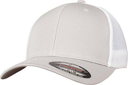 Flexfit Mesh Trucker Cap 2-Tone - Unisex Baseballcap für Damen und Herren, Farbe Silver/White, S/M