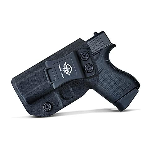 Glock 43 Holster, Glock 43X Holster IWB Kydex Holster for Glock 43 / Glock 43X Pistol Concealed Carry - Inside Waistband Carry Concealed Holster Glock 43 Guns Accessories Pouch (Black, Left Hand)
