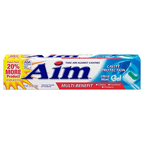 Aim Multi-Benefit Cavity Protection Gel Toothpaste, Ultra Mint 5.50 oz (Pack of 8)