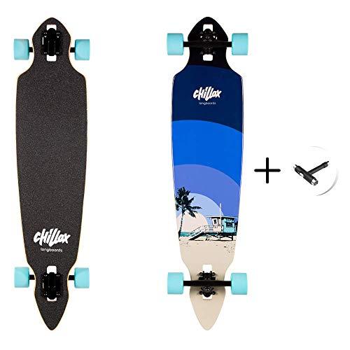 Chillax Longboards - Cruiser Longboard - Hochwertiges Komplettboard inkl. T-Tool – Drop-Through Achsen für mehr Stabilität - ABEC Kugellager für mehr Geschwindigkeit - Deck aus Ahorn-Holz (Moonshine)